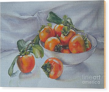 Summer Harvest  1 Persimmon Diospyros Wood Print