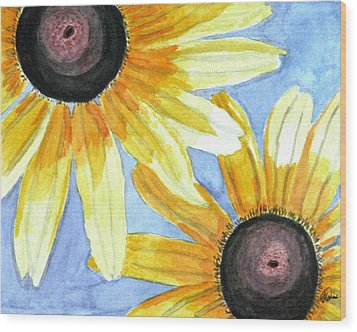 Wood Print featuring the painting Summer Susans by Angela Davies