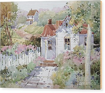 Summer Time Cottage Wood Print by Joyce Hicks