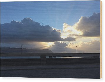 Sunbeams Over Conwy Wood Print by Christopher Rowlands