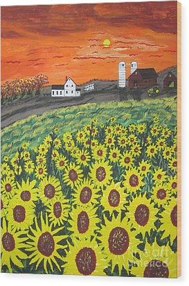 Sunflower Valley Farm Wood Print