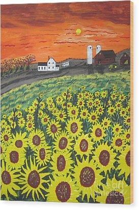 Sunflower Valley Farm Wood Print by Jeffrey Koss