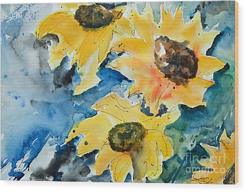Wood Print featuring the painting Sunflowers by Ismeta Gruenwald