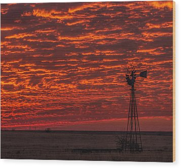 Wood Print featuring the photograph Sunset And Windmill by Rob Graham