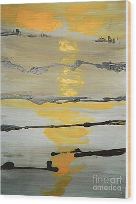 Wood Print featuring the painting Sunset by Fereshteh Stoecklein