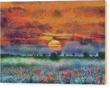 Wood Print featuring the painting Sunset by Georgi Dimitrov