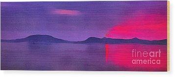 Sunset On Balaton Lake Wood Print by Odon Czintos