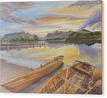 Sunset Over Serenity Lake Wood Print