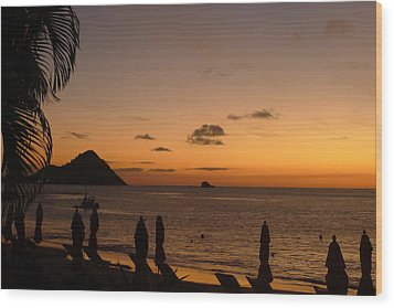 Sunset - St. Lucia Wood Print