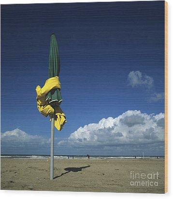 Sunshades On The Beach. Deauville. Normandy. France. Europe Wood Print by Bernard Jaubert