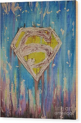 Superman's Shield Wood Print by Justin Moore