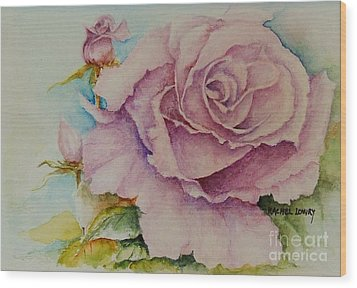 Wood Print featuring the painting Susan's Rose by Rachel Lowry