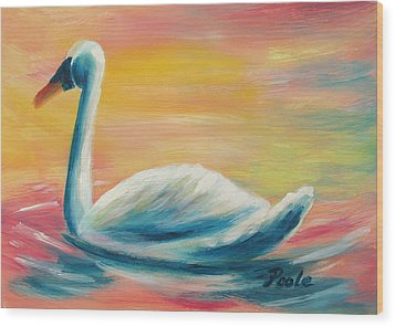 Swan At Sunset Wood Print