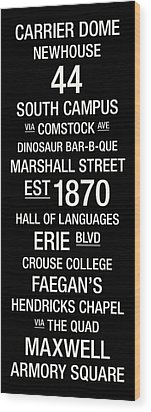 Syracuse College Town Wall Art Wood Print by Replay Photos