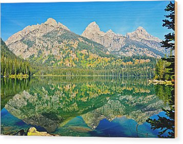 Taggart Lake Wood Print by Greg Norrell