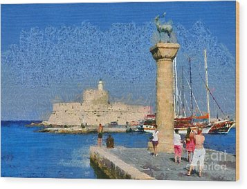 Taking Pictures At The Entrance Of Mandraki Port Wood Print by George Atsametakis