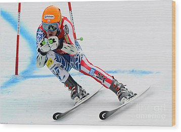 Ted Ligety Skiing  Wood Print by Lanjee Chee