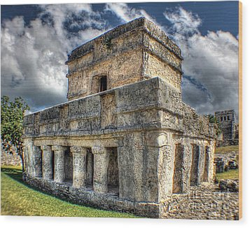 Temple Of The Frescos - Tulum Wood Print by Ines Bolasini