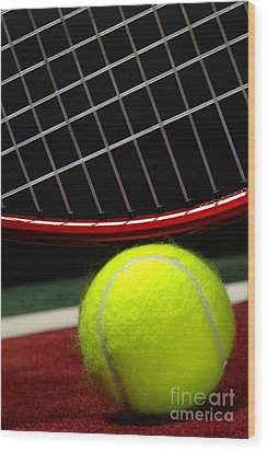 Tennis Ball Wood Print by Olivier Le Queinec