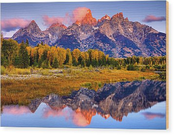 Tetons Reflection Wood Print by Aaron Whittemore