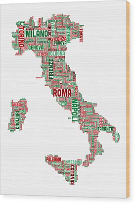 Text Map Of Italy Map Wood Print by Michael Tompsett