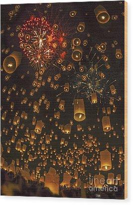 Thai People Floating Lamp Wood Print by Anek Suwannaphoom