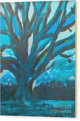 The Blue Tree Wood Print