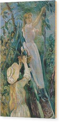 The Cherry Picker  Wood Print by Berthe Morisot
