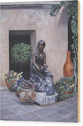 The Courtyard Wood Print by Roberta Rotunda