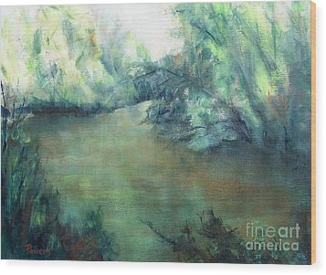 Wood Print featuring the painting The Creek At Dawn by Mary Lynne Powers