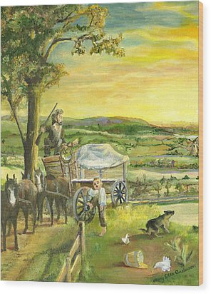 Wood Print featuring the painting The Farm Boy And The Roads That Connect Us by Mary Ellen Anderson