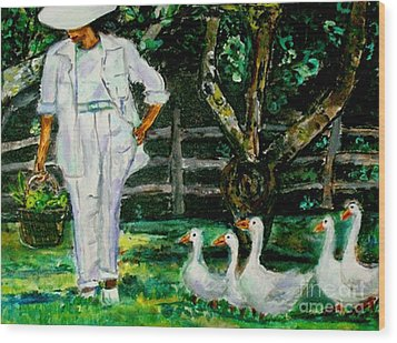 The Five Ducks Wood Print by Helena Bebirian