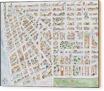 The Greenwich Village Map Wood Print