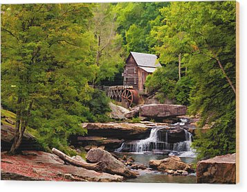 The Grist Mill Painted  Wood Print by Steve Harrington