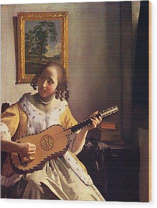 The Guitar Player Wood Print by Johannes Vermeer