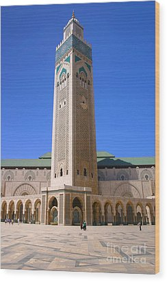 Wood Print featuring the photograph The Hassan II Mosque Grand Mosque With The Worlds Tallest 210m Minaret Sour Jdid Casablanca Morocco by Ralph A  Ledergerber-Photography