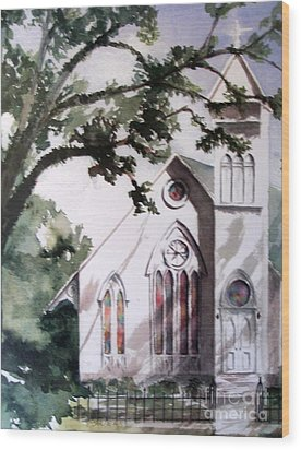 Wood Print featuring the painting The Old Church by Mary Lynne Powers