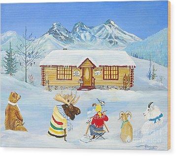 The Painting Lesson Wood Print by Virginia Ann Hemingson
