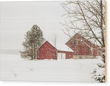 The Red Barn Wood Print