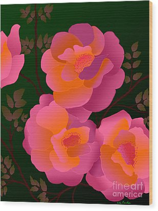 Wood Print featuring the digital art The Scent Of Roses by Latha Gokuldas Panicker