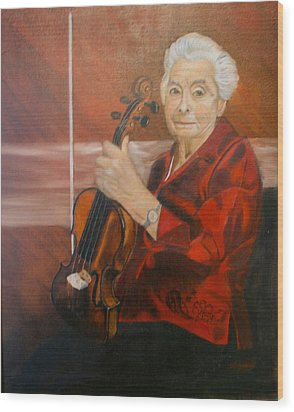 Wood Print featuring the painting The Violin by Sharon Schultz