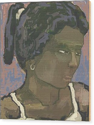 The Woman With The White Barrette Wood Print by Pemaro