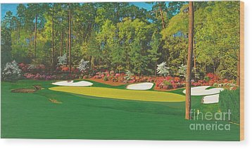 Thirteenth At Augusta Wood Print by L J Oakes