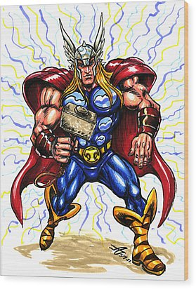 Thor  Wood Print by John Ashton Golden