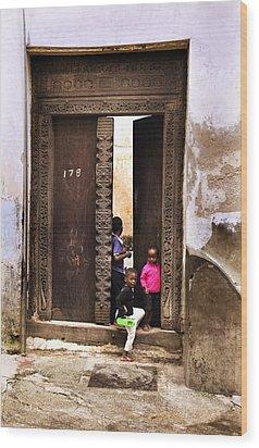 Wood Print featuring the photograph Kids Playing Zanzibar Unguja Doorway by Amyn Nasser