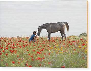 Three At The Poppies' Field... 4 Wood Print