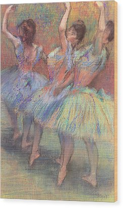 Three Dancers Wood Print by Edgar Degas