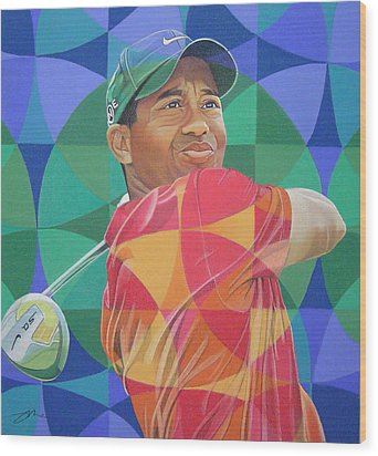 Wood Print featuring the drawing Tiger Woods by Joshua Morton