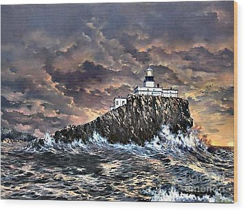 Wood Print featuring the painting Tillamook Rock Light by Lynne Wright