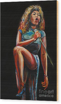 Tina Turner Wood Print by Nancy Bradley